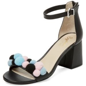 Seychelles Black March Pom Heeled Leather Sandals